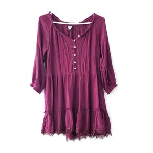 Aerie Maroon Peasant Babydoll Mini Dress
